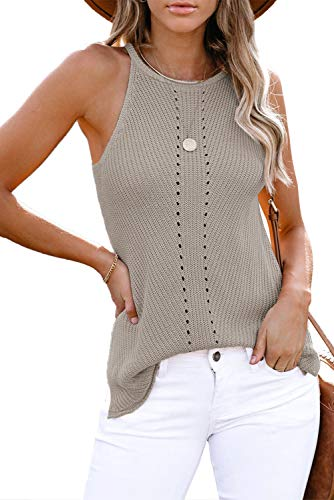 Yidarton - Blusa para mujer, sin mangas, sexy, multicolor, camiseta, camiseta, elegante, chaleco para mujer gris M