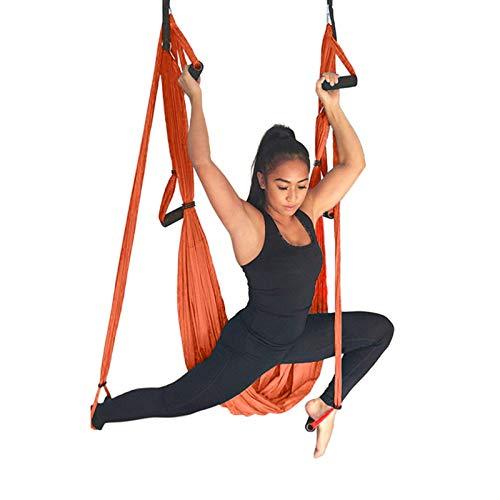 WOERD Kit trapecio para yoga y columpio de interior, para deportes, hamacas aéreas de yoga, ejercicios de inversión, con 2 correas de extensión, color naranja