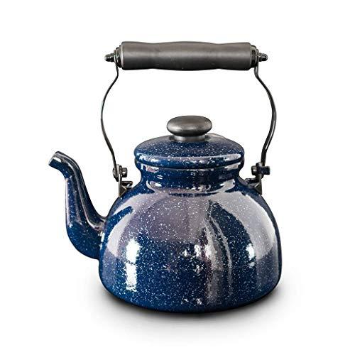 Bouilloire électrique Bouilloire à thé sifflante 2L Théière, Blue Galaxy Stove Top Kettles Théière en émail avec Double poignée en Silicone