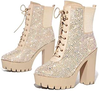 Mona Mia Bari Glitter Lace Up Chunky Platform Block High Heel Ankle Booties
