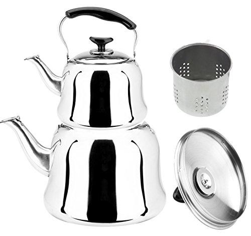 Große Türkischer Teekocher Set mit Sieb 3 & 1 Liter Caydanlik Teekannen Set aus Edelstahl | Tee & Wasserkocher