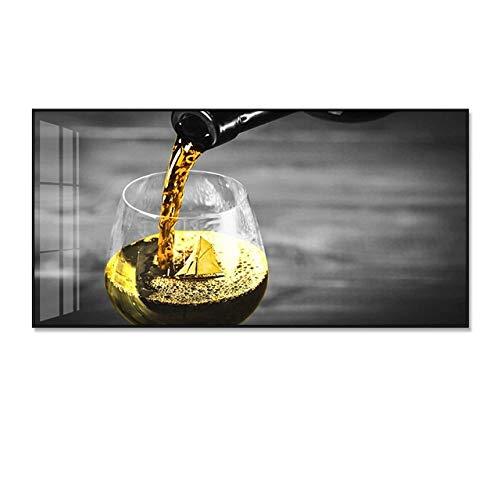 SYLSBAZGYS Romántico Vino Amarillo Carteles en Blanco y Negro Impresiones Pintura en Lienzo Cocina Decoración Moderna para el hogar Imágenes artísticas de Pared para Sala de Estar Sin Marco-B_30x60cm