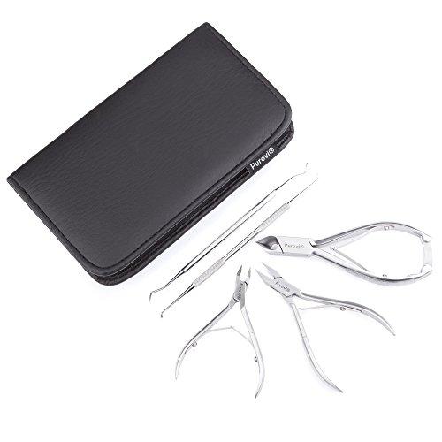 Purovi® Kit d'outils Professionnels pour pédicure et manucure | Coupe-Ongles, Ciseaux à Ongles