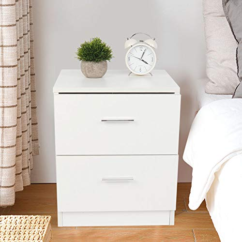 Ejoyous High Gloss Bedside Table Night Stand, 2 Drawers Bedside Cabinet Table Chest of Drawer, 40 * 35 * 40cm Bedroom Living Room Bedside Sofa Side Storage Display Nightstand High Gloss MDF Board