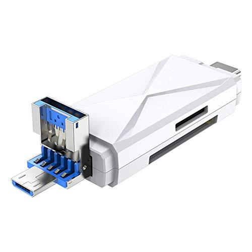 Lecteur de Carte mémoire numérique sécurisé Lecteur de Carte mémoire USB Micro USB Type C Lecteurs de Carte mémoire Lecteurs de Carte Micro - Blanc