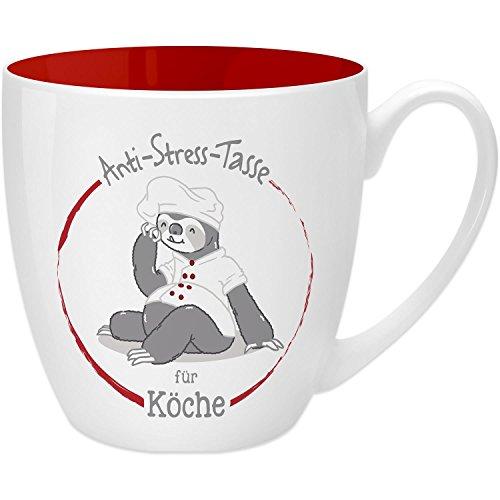Gruss & Co 45493 Anti-Stress Tasse für Köche, 45 cl, Geschenk, New Bone China, Rot, 9.5 cm