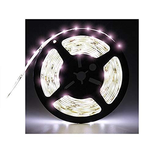 Tasodin Water-Resistance IP65, 12V Waterproof Flexible LED Strip Light, 16.4ft/5m Cuttable LED Light Strips, 300 Units 3528 LEDs Lighting String, LED Tape(White) Power Adapter not Included