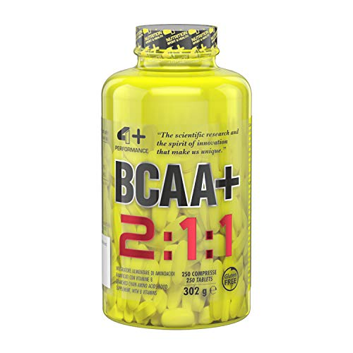 4+ NUTRITION - BCAA+, Integratore Sportivo, Aminoacidi a Catena Ramificata, Riduzione della Stanchezza e Affaticamento, 250 Compresse