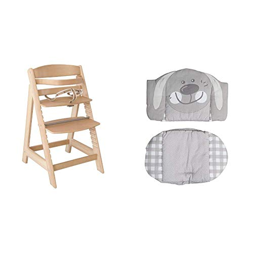 Roba Treppenhochstuhl Sit Up III, mitwachsender Hochstuhl vom Babyhochstuhl bis zum Jugendstuhl, Holz, naturfarben + Sitzverkleinerer, Hochstuhleinlage 'Hase', 2-teiliges Sitzkissen für roba Sit Up