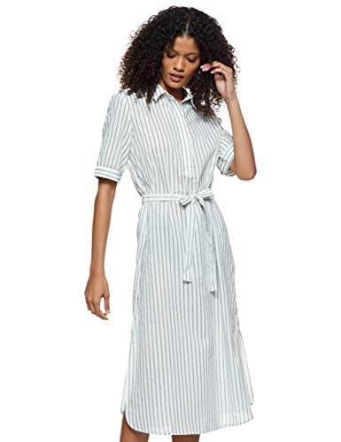 VERO MODA Damen VMCASSIE 2/4 Calf Dress WVN Kleid, Mehrfarbig (Snow White Stripes: Laurel Wreath), 40 (Herstellergröße: L)