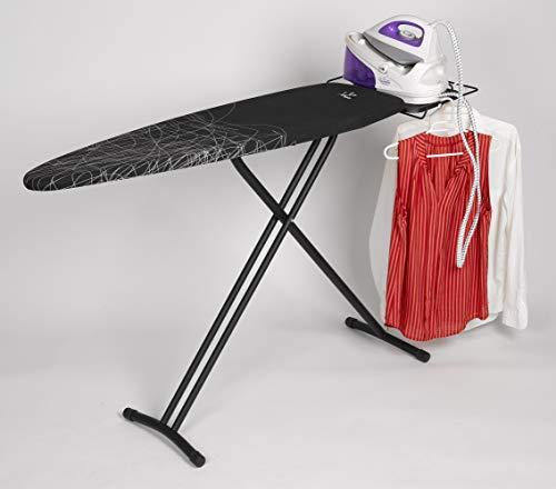 Jata Hogar Tabla de Planchar Ajustable en Altura y Plegable, Metal, Negro, 161x45x15 cm