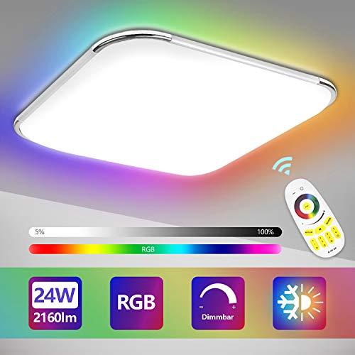 Hengda 24W RGB LED Deckenleuchte, Dimmbar, RGB Farbwechsel, Farbtemperatur Einstellbar, Deckenlampe mit Fernbedienung, 2160LM, Wohnzimmer Lampe für Bad, Schlafzimmer, Küche, IP44
