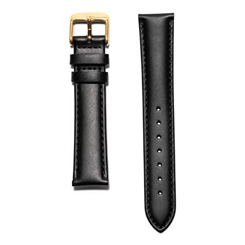 KRAEK Correa de piel negra y dorada, con cierre rápido, 18 mm, fácil de clic, auténticas correas de reloj
