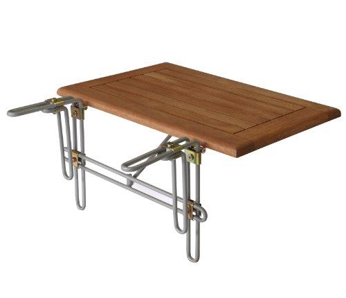 gartenmoebel-einkauf Balkonhängetisch 60x40cm, Metallhalterung + Eukalyptus Holz Platte