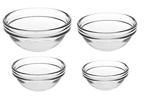 set de 4 cuencos de cocina multiuso de cristal, ensaladera de cristal, bol ensalada