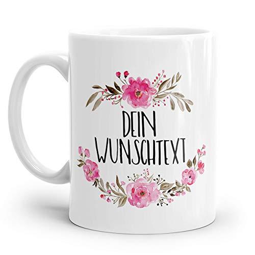 Wunschtext Tasse mit rosa Blumen