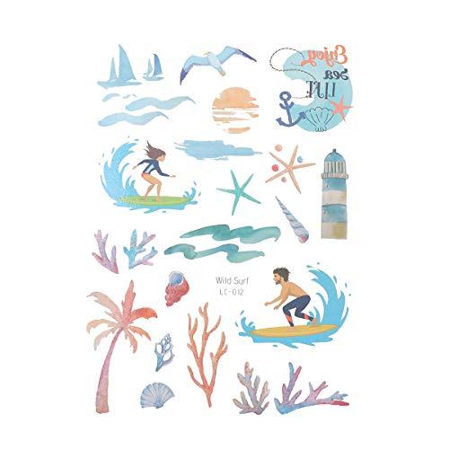 Amosfun Tatuajes temporales para niños y Adultos, Beach, Hawaiian Luau, para decoración de Fiestas y Fiestas de cumpleaños (Wild Surf), 5 Hojas por Paquete