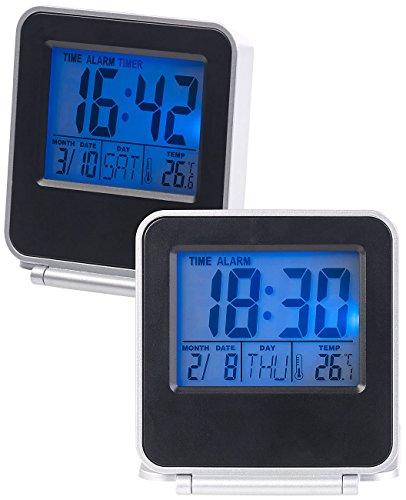 PEARL Uhr mit Thermometer: 2er-Set Kompakte digital Reisewecker, Thermometer, Kalender (Reise-Wecker)