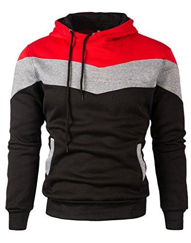Mooncolour Mens Novelty Color Block Hoodies Cozy Sport Autumn Outwear  0163_black US Medium