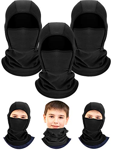 3 Pieces Kids Warm Hood Balaclava Winter Windproof Hat Ski Face Covering Balaclava Fleece Cap Scarf for Boy Girls Outdoor Sports (Black)