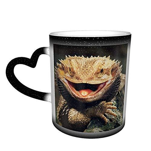 Taza térmica de lagarto de dragón de barba de color personalizado con ideas de café de cerámica de oficina de cumpleaños