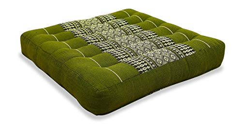 livasia Kapok Sitzkissen 35x35x6,5cm der Marke, optimal als Stuhlauflage oder Meditationskissen, Bodenkissen BZW. Stuhlkissen (grün)
