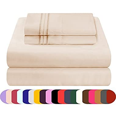Mezzati Luxury Bed Sheet Set - Soft and Comfortable 1800 Prestige Collection - Brushed Microfiber Bedding (Beige, King Size)
