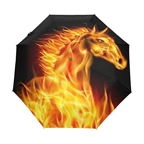 WowPrint Paraguas compacto a prueba de viento, diseño abstracto de caballo de fuego para transporte fácil