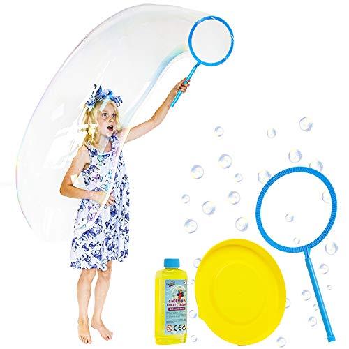 KreativeKraft Juego De Burbujas Gigantes   Conjunto De Burbujas De Jabón con Varita De Burbujas Gigante Y Liquido De Burbujas   Juguetes De Burbujas para Niños   Juguete De Jardín   Juego De Fiesta