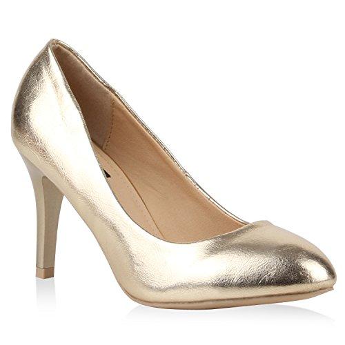 Klassische Damen Lack Pumps Elegant Abend Metallic Schuhe 110520 Gold 36 Flandell