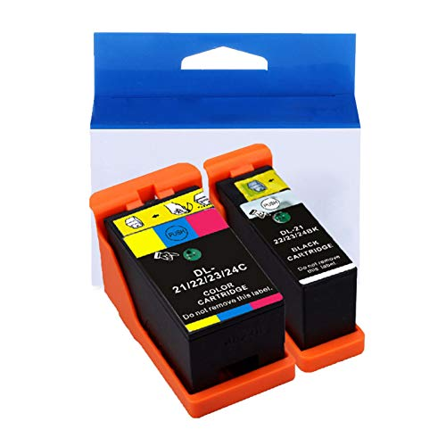 JZMY Model 21/22/23/24BK/C Ink Cartridge for Dell V313 V313W V515W P513W P713W V715W, High Definition Service