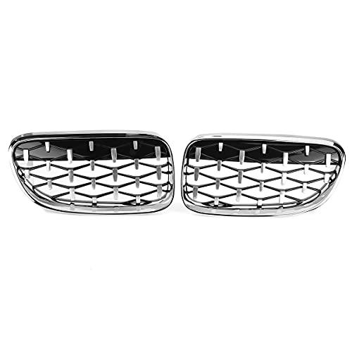 WKNB Rejilla de riñón, Meteor de Diamond Mteater Meather Style Grille Fit para BMW E92 E93 2010-2015 Parrillas de Carreras Estilo Diamond Style Front Happ Asks,Cromo