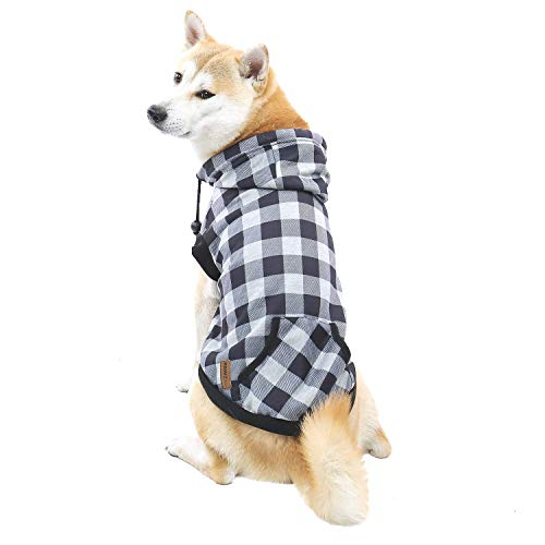 PAWZ Road Hund Kariertes Hemd Hundemantel Hoodie Britischer Stil Pullover Hundejacke Hundemantel Waschbar Frühling Herbst Winter Warme Kleidung Für Welpen Klein Mittel Große Hunde Grau L 50cm