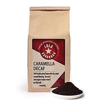 Lola Savannah Caramella Ground Coffee - Indulge In A Cup Of Our Sweet Caramel Creme Roasted Arabica Beans   Decaf   2lb Bag