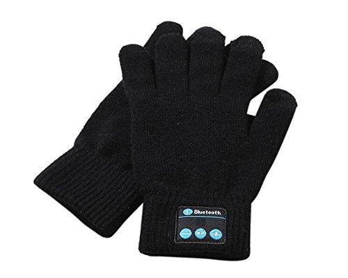 O RIGHT Hochwertige 2016 Bluetooth Handschuhe Damen Herren Unisex Winter Strick Warm Fäustlinge Call Talking & Touchscreen Handschuhe Handy Pad, Schwarz, Einheitsgröße