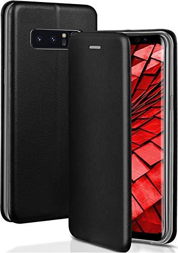 ONEFLOW Handyhülle kompatibel mit Samsung Galaxy Note8 - Hülle klappbar, Handytasche mit Kartenfach, Flip Hülle Call Funktion, Klapphülle in Leder Optik, Schwarz
