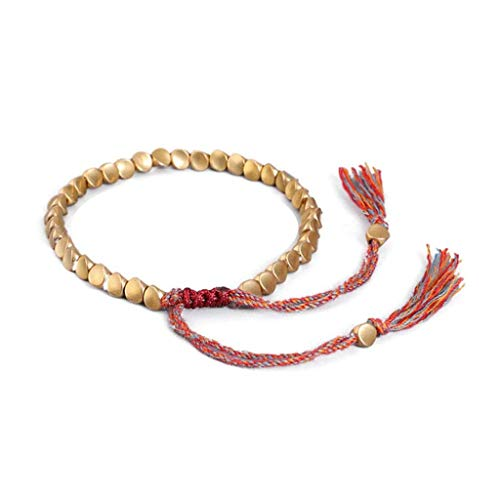 Tibet Bracelet with Agate Beads Copper, Handmade Tibetan Buddhist Braided Cotton Copper Beads Lucky Rope Bracelet Unisex