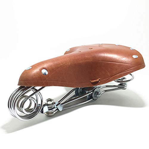 YAP Fundas de Asiento de Bicicleta de montaña Anchas Retro Cojín de Bicicleta clásico Vintage Asientos de Bicicleta de Cuero Genuino Asiento de Bicicleta Suave y cómodo Cojín de Resorte Marrón