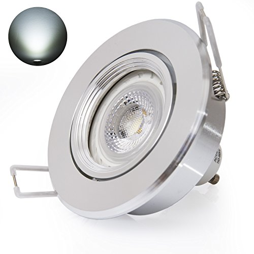 Extrastar® Foco LED empotrable con marco orientable, GU10, 6,5 W, equivalente a 52 W, 510 lm (marco plateado redondo + GU10AP blanco frío)