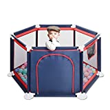 GrowthPic Baby Playpen, Playard for Baby - Safety Play Pen for Infant and Baby, with Sturdy Bases, Anti-Skid Pads, Lightweight, Navy Blue, 6-Panel