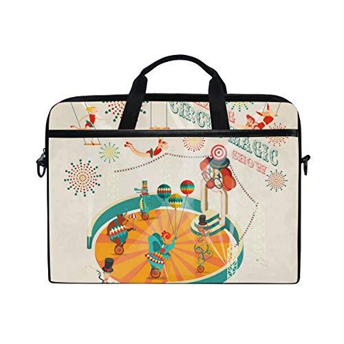 Laptop-Umhängetasche mit lustigem Cartoon-Zirkusspiel, für Laptops von 35,6 cm bis 38,1 cm