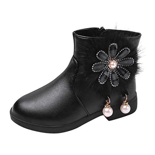 Alwayswin Mädchen Mode Leder Stiefel Kinder Baby Prinzessin Schuhe Stiefel Blumen Winter Booties Warme rutschfeste Winterstiefel Flache Kurze Stiefel Stiefeletten(Plus und Nicht Plus Samt)