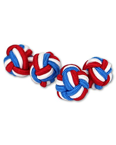 Seidenknoten Manschettenknöpfe | Knoten | Blau-Weiß-Rot | Stoff Seidenknötchen | Handgefertigt | Für jedes Hemd mit Umschlagmanschette Manschette