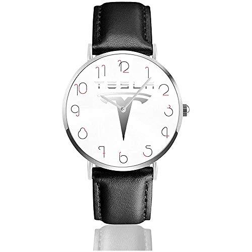 Klassische Tesla-Logo Armbanduhr Pu Lederarmbanduhren