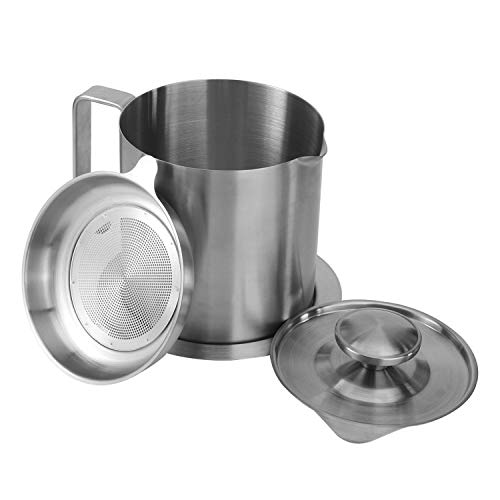 Oil Strainer Pot Stainless Steel Grease Can, Home Bacon Grease Container with Strainer, Suitable for Kitchen Cooking Storing and Bacon Fat (1.2L)