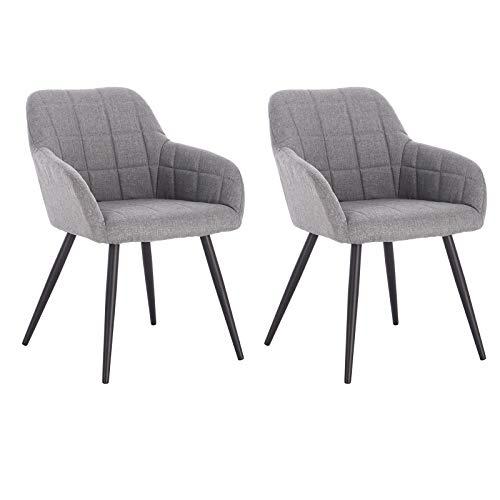 WOLTU® Esszimmerstühle BH107hgr-2 2er Set Küchenstuhl Polsterstuhl Wohnzimmerstuhl Sessel mit Armlehne, Sitzfläche aus Leinen, Metallbeine, Hellgrau