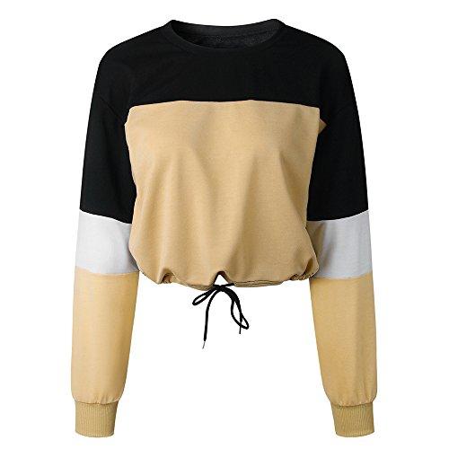 TWIFER Damen Langarm Sweatshirt Spleißen Farbe Pullover Sweater Bluse