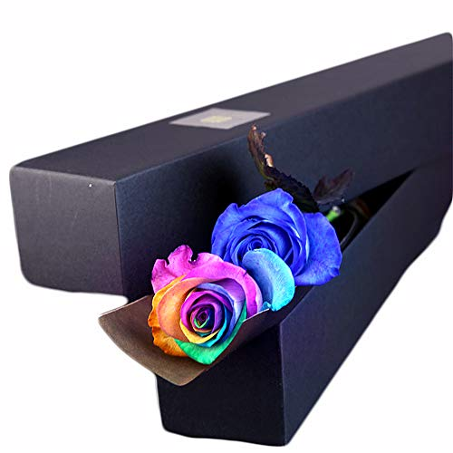 生花・レインボーローズ(虹薔薇)1本と青いバラ(ブルーローズ)1本の縦長ギフトBOX