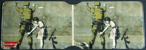 Banksy style Soldier and girl Tarjetero de Oyster, diseño de Soldado y Niña de Banksy