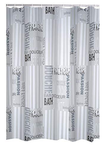RIDDER Duschvorhang Folie Font grau 180x200 cm